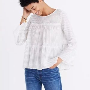 Madewell Tiered Top in Haysboro Stripe Size Small